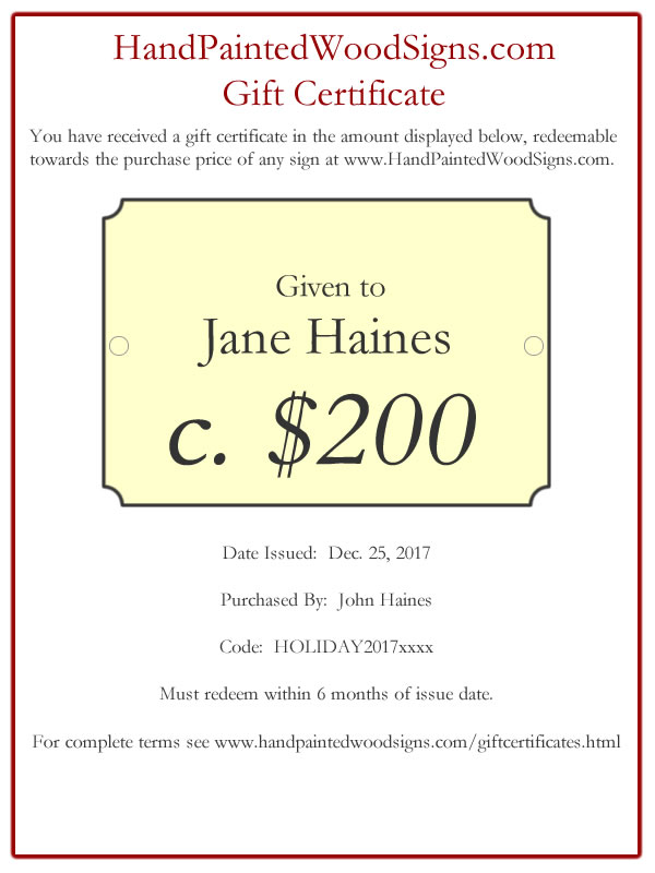 hand painted sign gift certificate