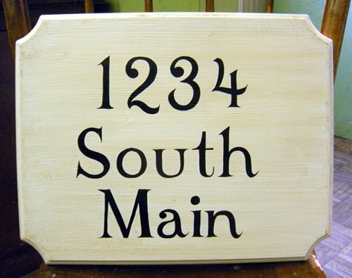 large custom hand painted street address sign