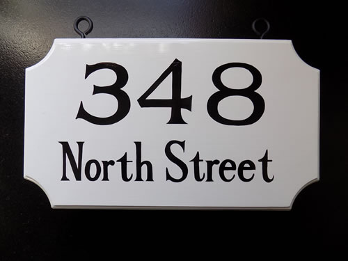 hand painted hanging double sided house number sign