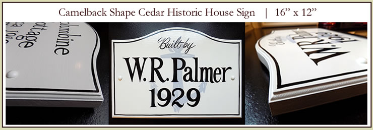 hand painted cedar camelback historic house sign