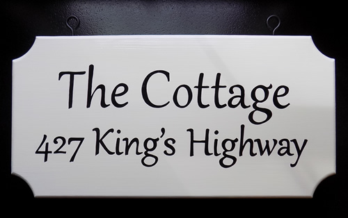 hanging cottage sign hand painted both sides