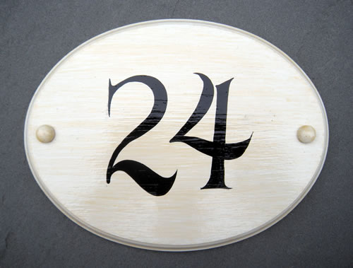 house number painted sign