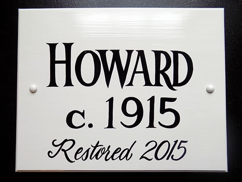 hand painted rectangle historic house plaque