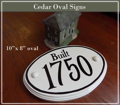 hand painted cedar oval historic house sign