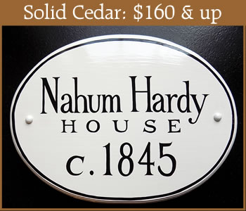 solid cedar wall-mounted historic house signs
